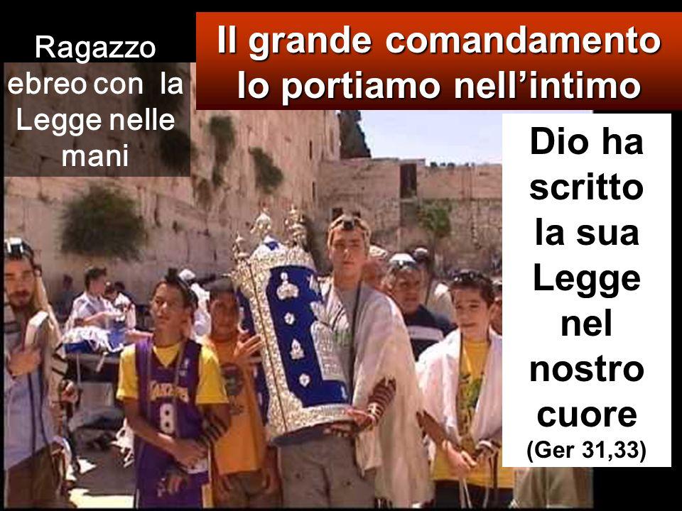 Il grande comandamento lo portiamo nell'intimo Dio ha scritto la sua Legge nel nostro cuore (Ger 31,33) Ragazzo ebreo con la Legge nelle mani