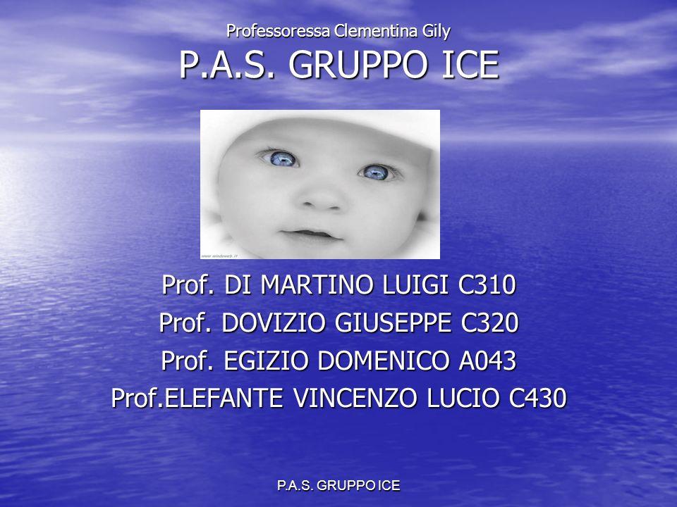 P.A.S. GRUPPO ICE Professoressa Clementina Gily P.A.S. GRUPPO ICE Prof. DI MARTINO LUIGI C310 Prof. DOVIZIO GIUSEPPE C320 Prof. EGIZIO DOMENICO A043 P