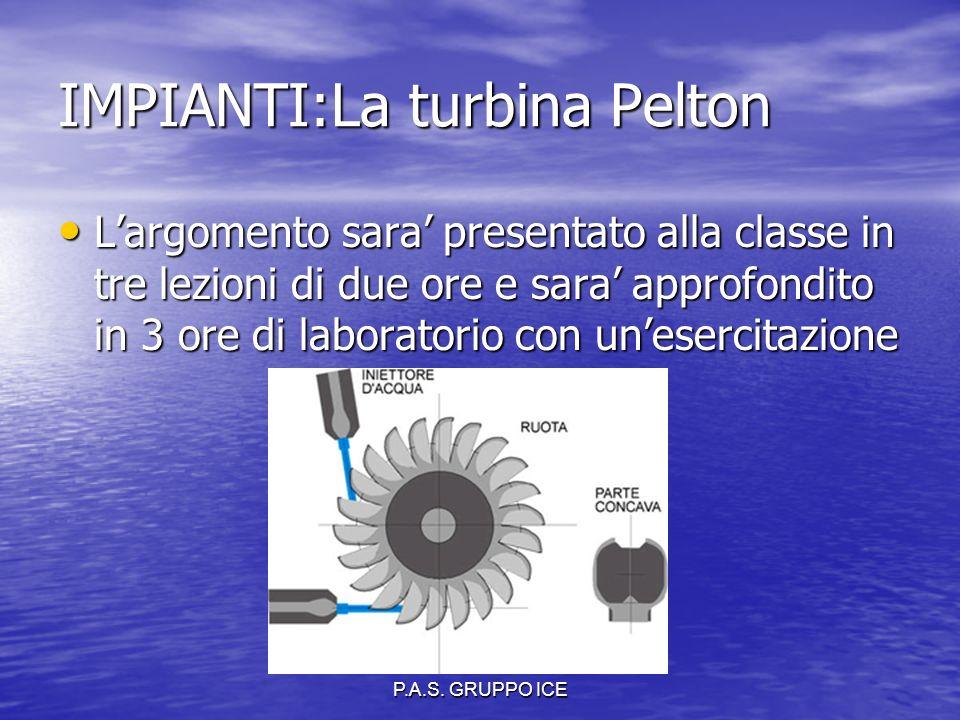 P.A.S. GRUPPO ICE IMPIANTI:La turbina Pelton L'argomento sara' presentato alla classe in tre lezioni di due ore e sara' approfondito in 3 ore di labor