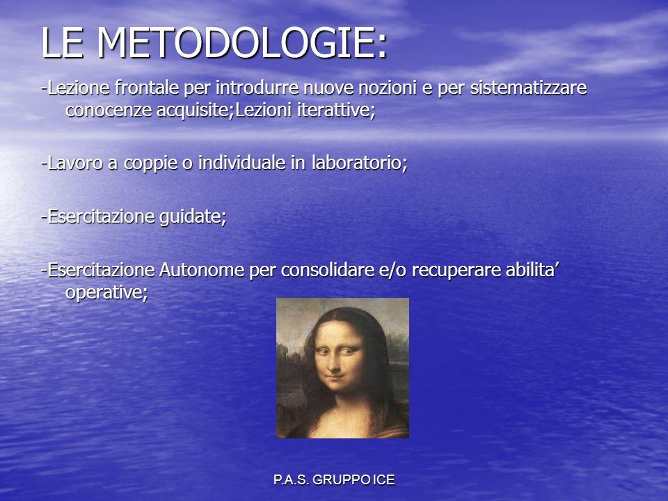 P.A.S. GRUPPO ICE LE METODOLOGIE: -Lezione frontale per introdurre nuove nozioni e per sistematizzare conocenze acquisite;Lezioni iterattive; -Lavoro