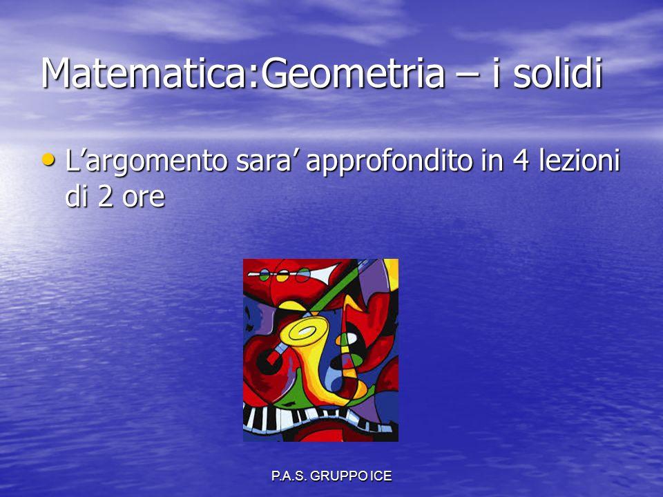 P.A.S. GRUPPO ICE Matematica:Geometria – i solidi L'argomento sara' approfondito in 4 lezioni di 2 ore L'argomento sara' approfondito in 4 lezioni di