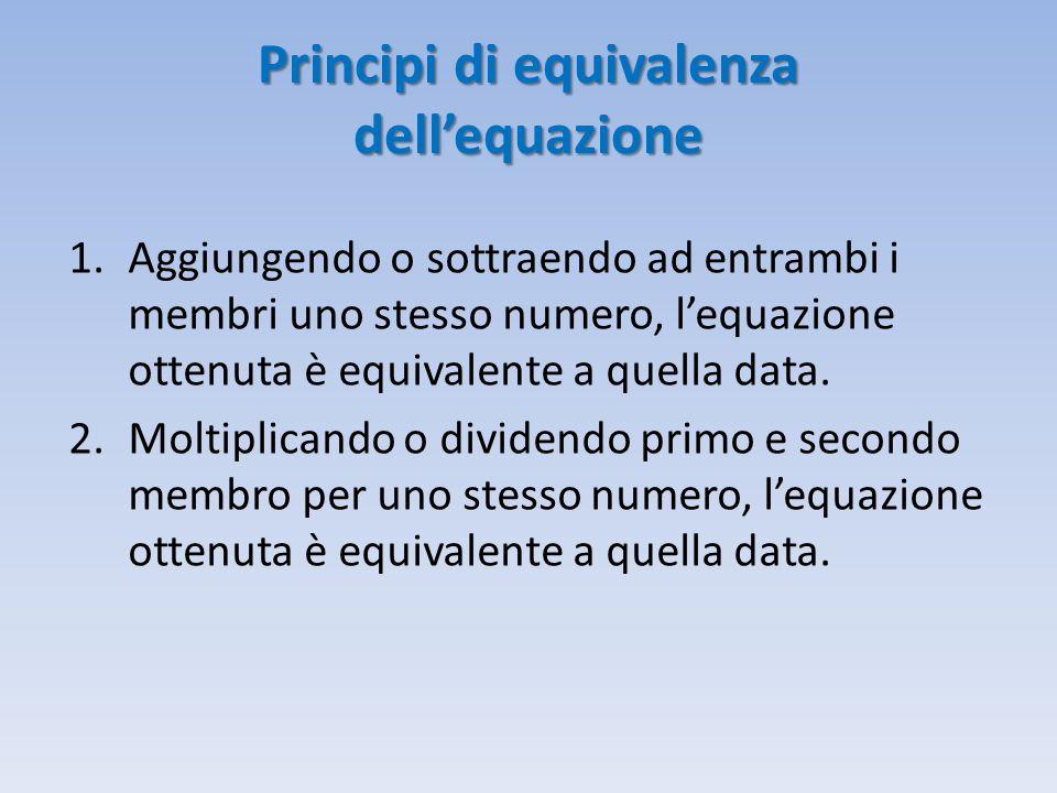 Soluzioni di una equazione numerica intera E' detta soluzione di un equazione ogni valore che, attribuito all'incognita soddisfa l'uguaglianza, cioè rende il primo membro uguale al secondo.