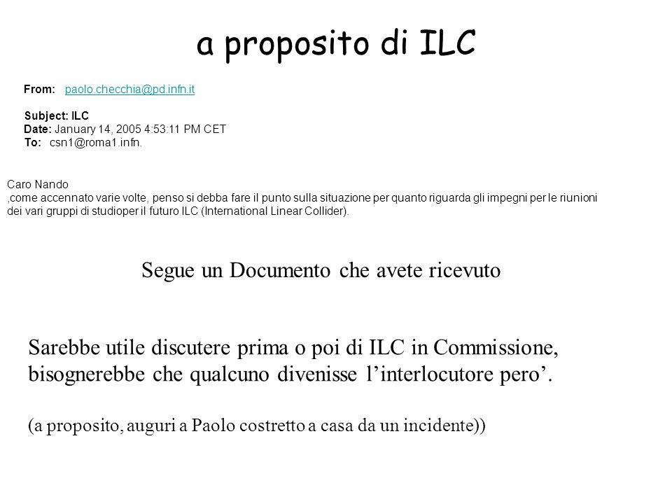 a proposito di ILC Caro Nando,come accennato varie volte, penso si debba fare il punto sulla situazione per quanto riguarda gli impegni per le riunioni dei vari gruppi di studioper il futuro ILC (International Linear Collider).