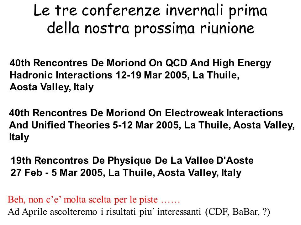 Le tre conferenze invernali prima della nostra prossima riunione 40th Rencontres De Moriond On QCD And High Energy Hadronic Interactions 12-19 Mar 200