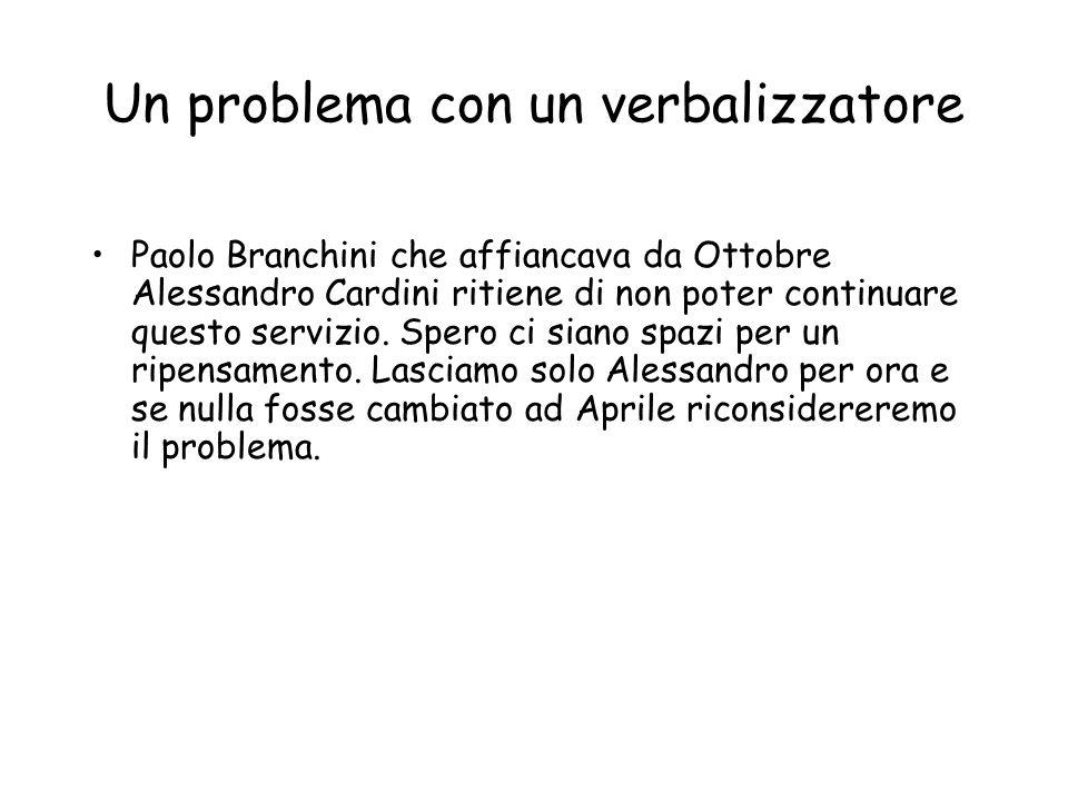 Un problema con un verbalizzatore Paolo Branchini che affiancava da Ottobre Alessandro Cardini ritiene di non poter continuare questo servizio.