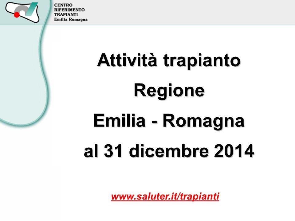Attività trapianto Regione Emilia - Romagna al 31 dicembre 2014 www.saluter.it/trapianti