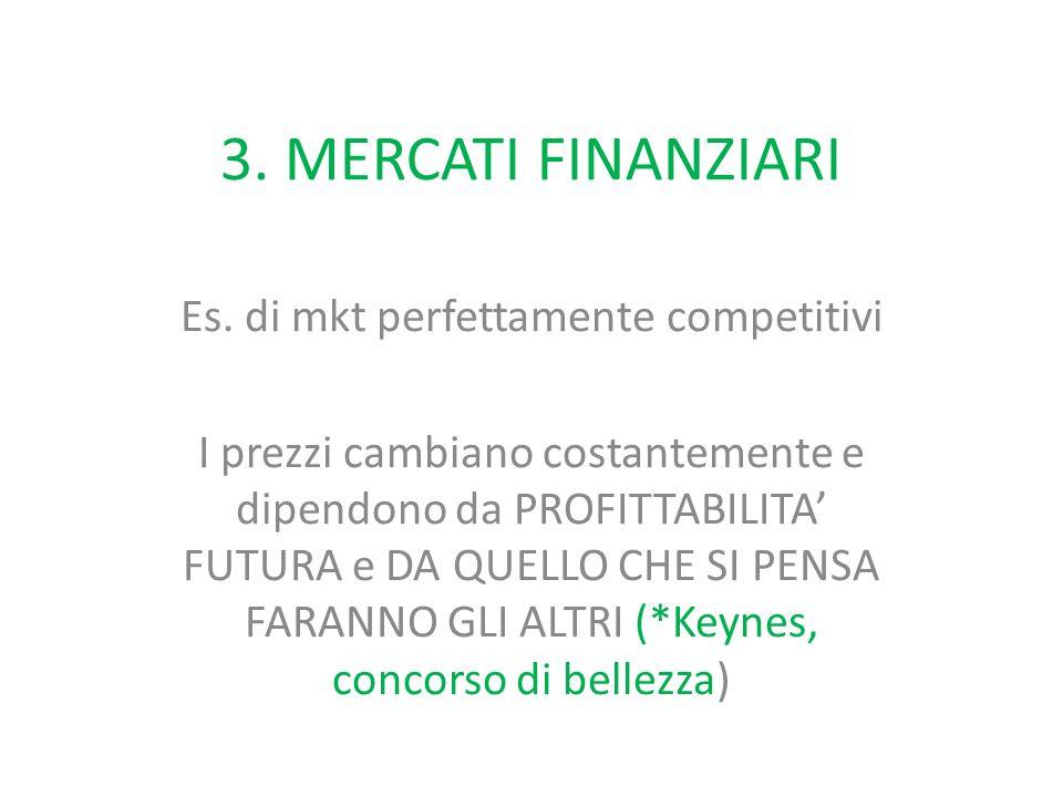3. MERCATI FINANZIARI Es. di mkt perfettamente competitivi I prezzi cambiano costantemente e dipendono da PROFITTABILITA' FUTURA e DA QUELLO CHE SI PE