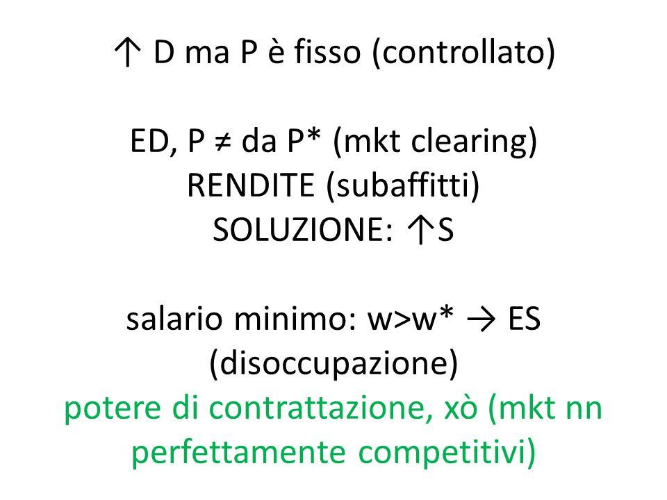 ↑ D ma P è fisso (controllato) ED, P ≠ da P* (mkt clearing) RENDITE (subaffitti) SOLUZIONE: ↑S salario minimo: w>w* → ES (disoccupazione) potere di contrattazione, xò (mkt nn perfettamente competitivi)