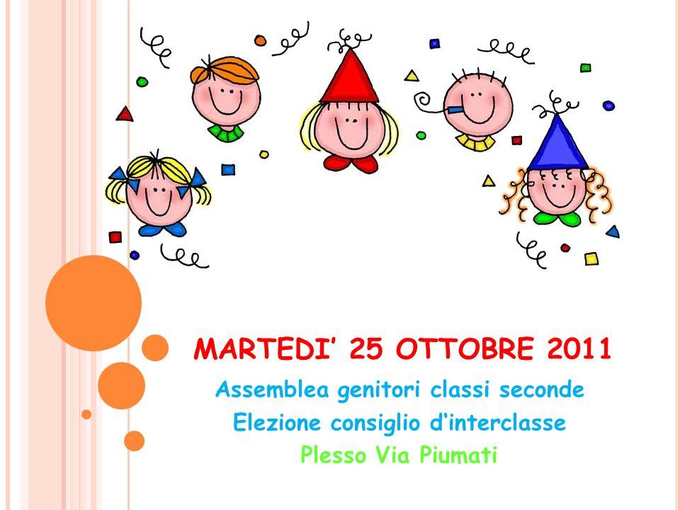 MARTEDI' 25 OTTOBRE 2011 Assemblea genitori classi seconde Elezione consiglio d'interclasse Plesso Via Piumati