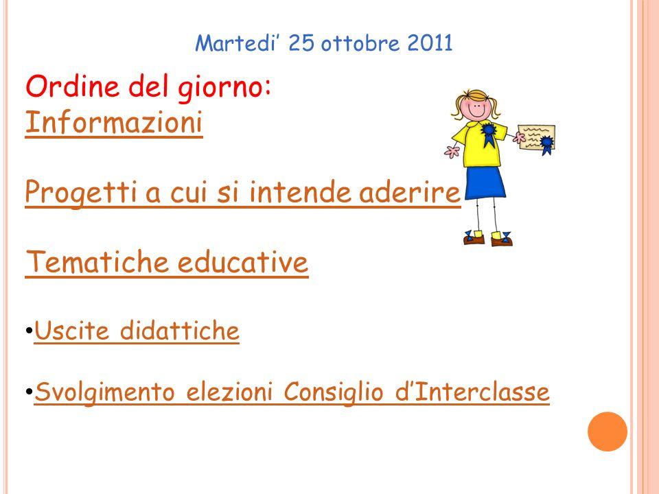 Martedi' 25 ottobre 2011 Ordine del giorno: Informazioni Progetti a cui si intende aderire Tematiche educative Uscite didattiche Svolgimento elezioni Consiglio d'Interclasse