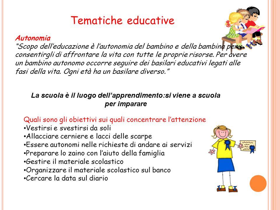 Tematiche educative Autonomia Scopo dell'educazione è l'autonomia del bambino e della bambina per consentirgli di affrontare la vita con tutte le proprie risorse.