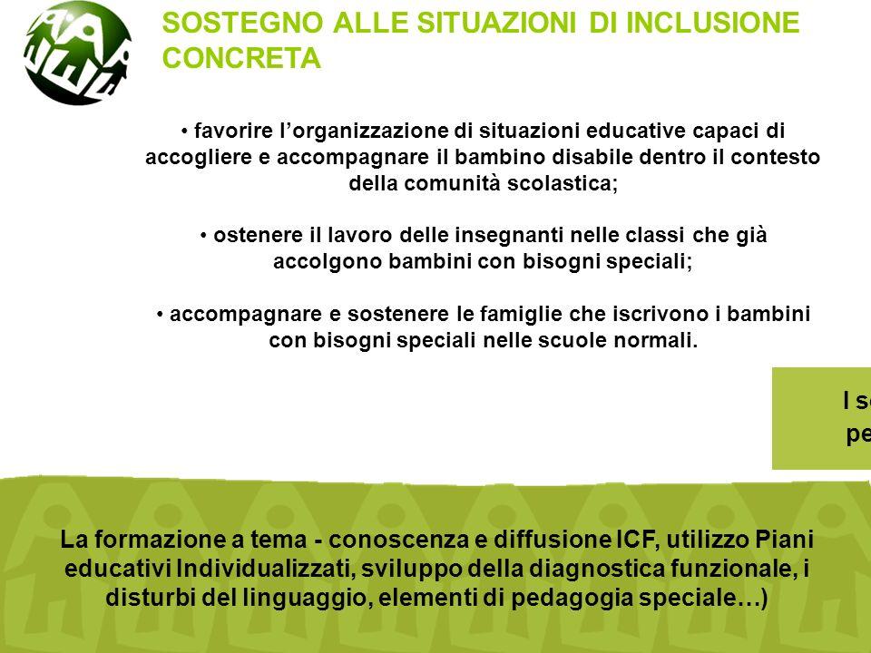 favorire l'organizzazione di situazioni educative capaci di accogliere e accompagnare il bambino disabile dentro il contesto della comunità scolastica