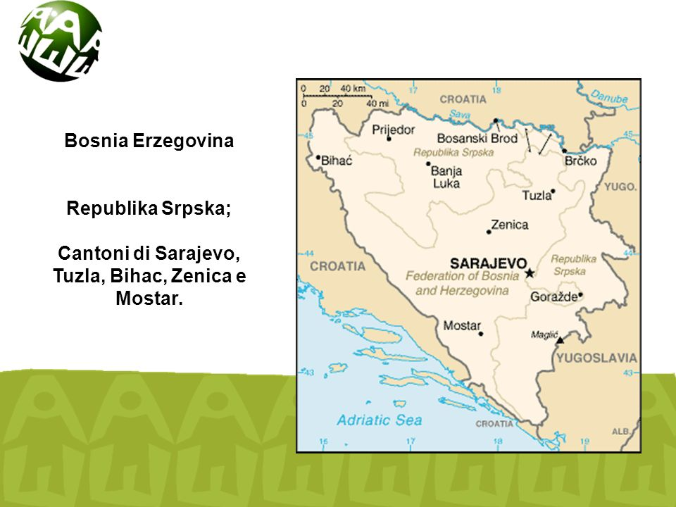 Bosnia Erzegovina Republika Srpska; Cantoni di Sarajevo, Tuzla, Bihac, Zenica e Mostar.