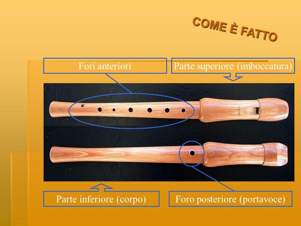 Esso è formato da due parti a incastro: la parte superiore, che viene appoggiata alle labbra e prende il nome di imboccatura, la parte inferiore, che costituisce il corpo dello strumento nella quale sono praticati otto fori: sette fori si trovano nella parte anteriore e uno (detto portavoce) nella parte posteriore dello strumento