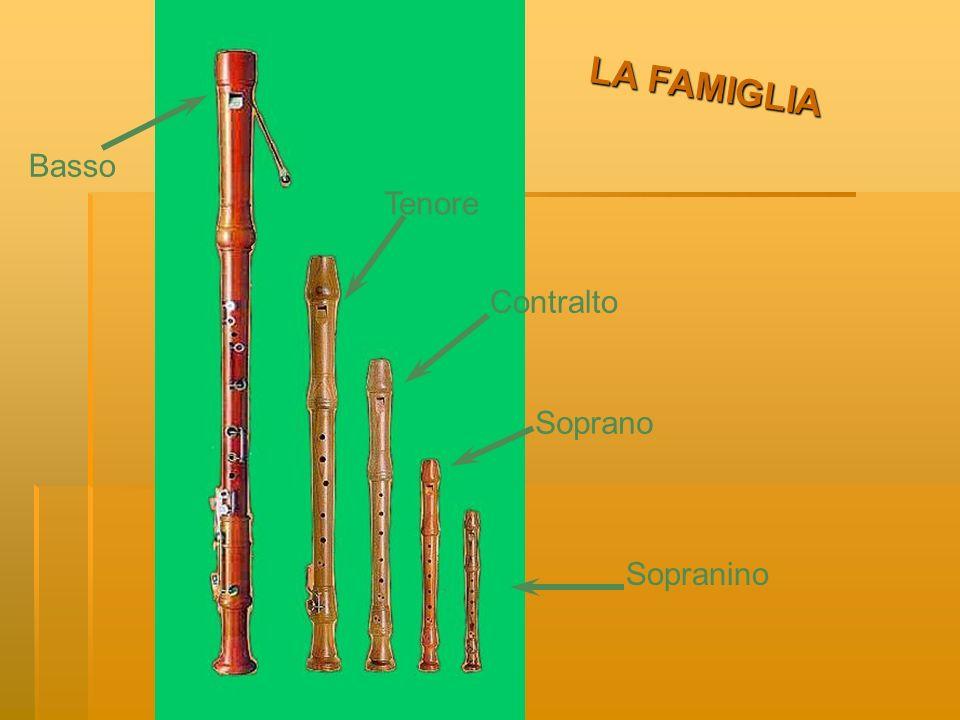 LA FAMIGLIA Esistono cinque tipi di flauto dolce.Essi si distinguono per le dimensioni.