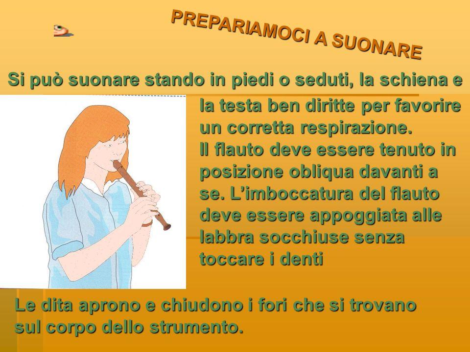 PREPARIAMOCI A SUONARE Si può suonare stando in piedi o seduti, la schiena e la testa ben diritte per favorire un corretta respirazione.