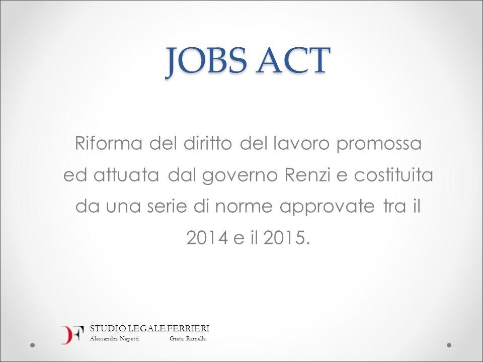 JOBS ACT Riforma del diritto del lavoro promossa ed attuata dal governo Renzi e costituita da una serie di norme approvate tra il 2014 e il 2015. STUD