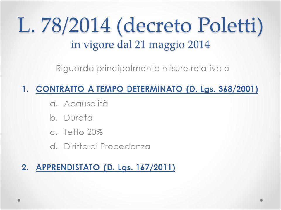 L. 78/2014 (decreto Poletti) in vigore dal 21 maggio 2014 Riguarda principalmente misure relative a 1.CONTRATTO A TEMPO DETERMINATO (D. Lgs. 368/2001)