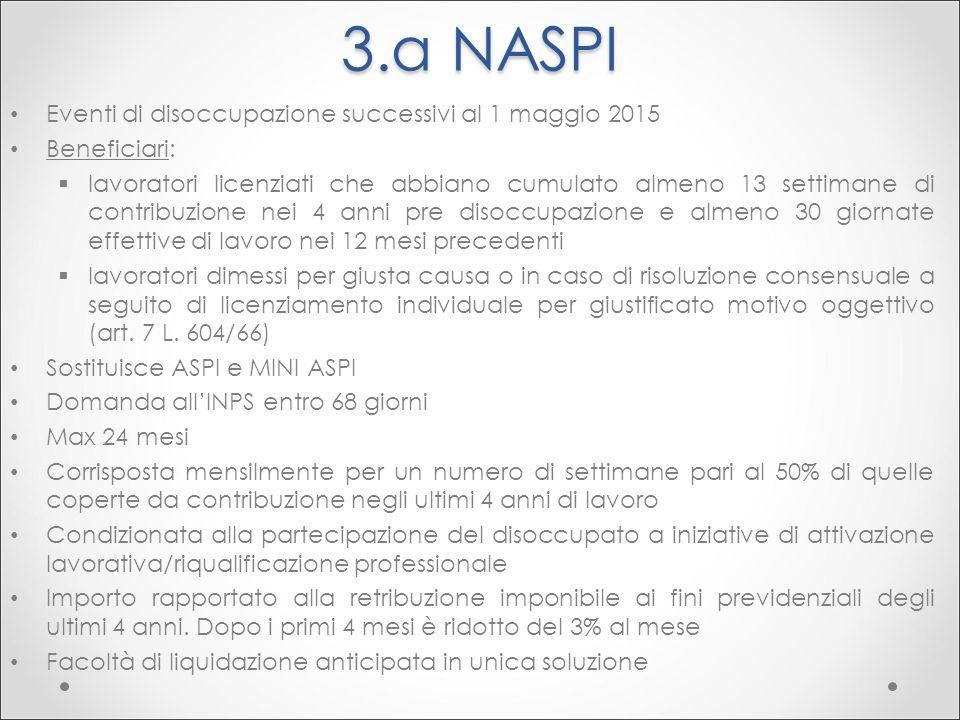 3.a NASPI Eventi di disoccupazione successivi al 1 maggio 2015 Beneficiari:  lavoratori licenziati che abbiano cumulato almeno 13 settimane di contri