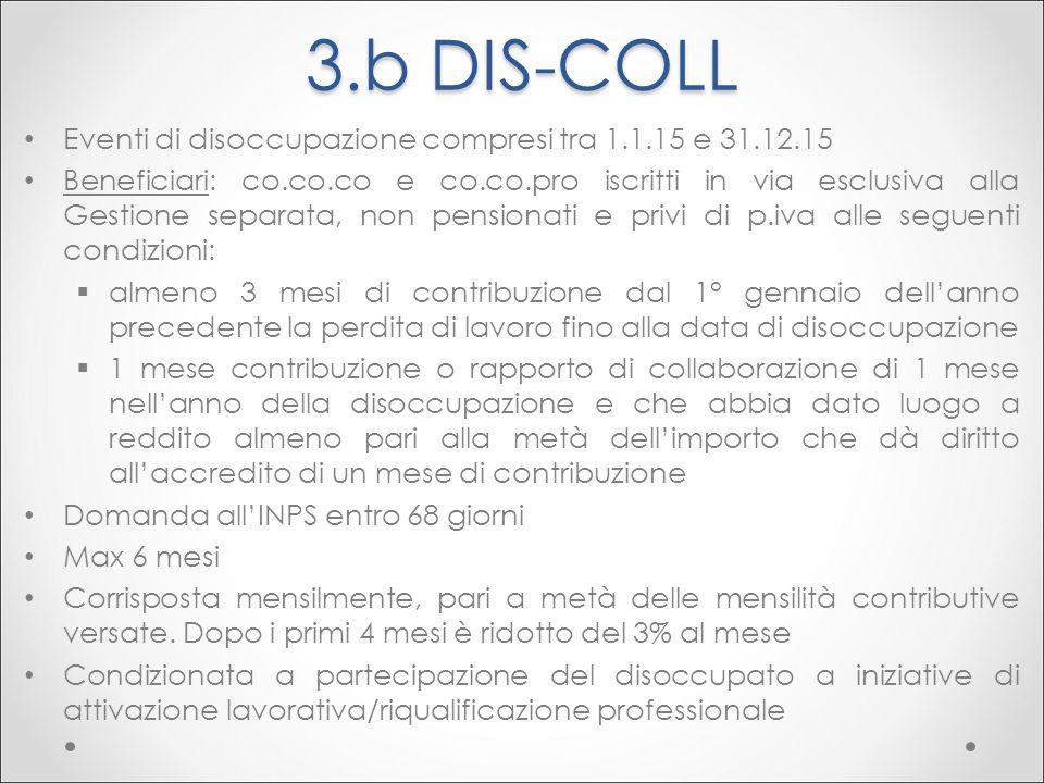 3.b DIS-COLL Eventi di disoccupazione compresi tra 1.1.15 e 31.12.15 Beneficiari: co.co.co e co.co.pro iscritti in via esclusiva alla Gestione separat