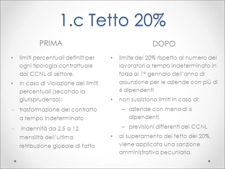 1.c Tetto 20% PRIMA DOPO limiti percentuali definiti per ogni tipologia contrattuale dai CCNL di settore. In caso di violazione dei limiti percentuali