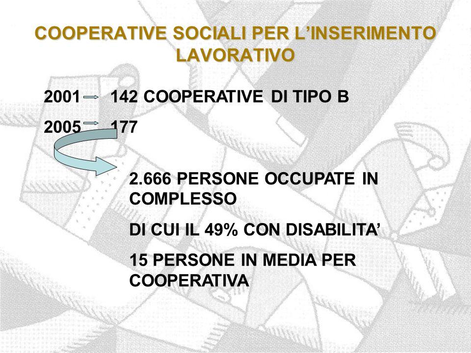 COOPERATIVE SOCIALI PER L'INSERIMENTO LAVORATIVO 2001 142 COOPERATIVE DI TIPO B 2005 177 2.666 PERSONE OCCUPATE IN COMPLESSO DI CUI IL 49% CON DISABILITA' 15 PERSONE IN MEDIA PER COOPERATIVA