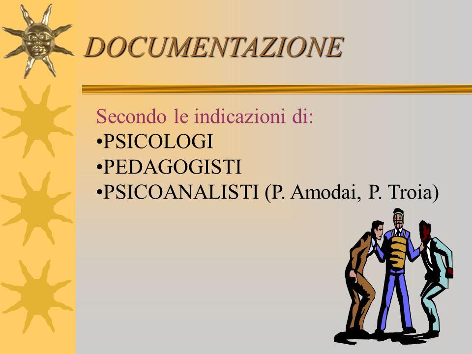 DOCUMENTAZIONE Secondo le indicazioni di: PSICOLOGI PEDAGOGISTI PSICOANALISTI (P. Amodai, P. Troia)