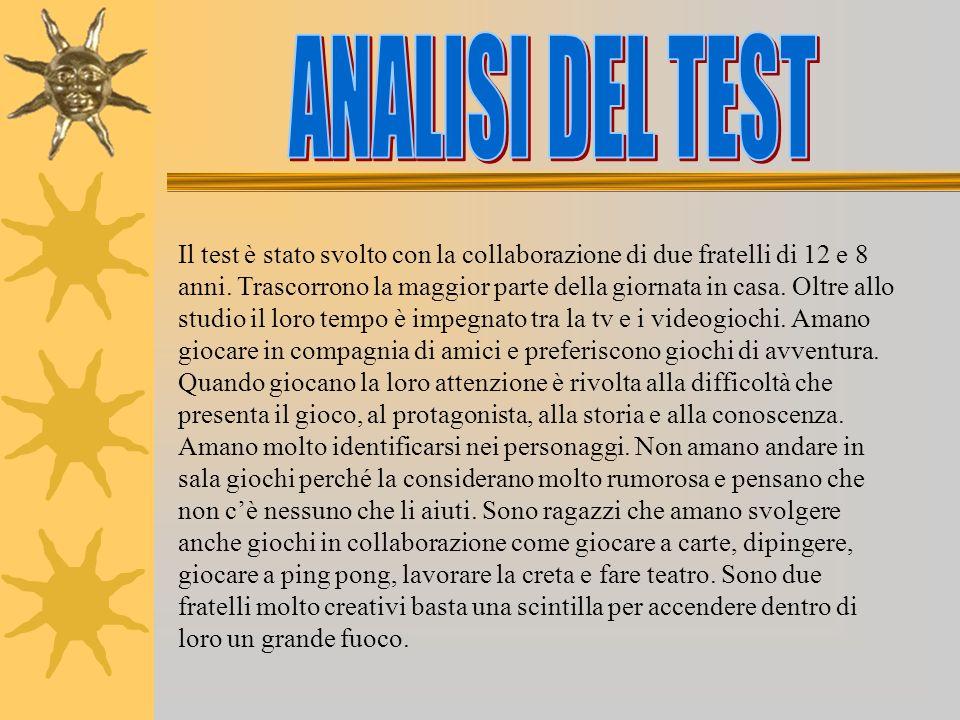 Il test è stato svolto con la collaborazione di due fratelli di 12 e 8 anni.