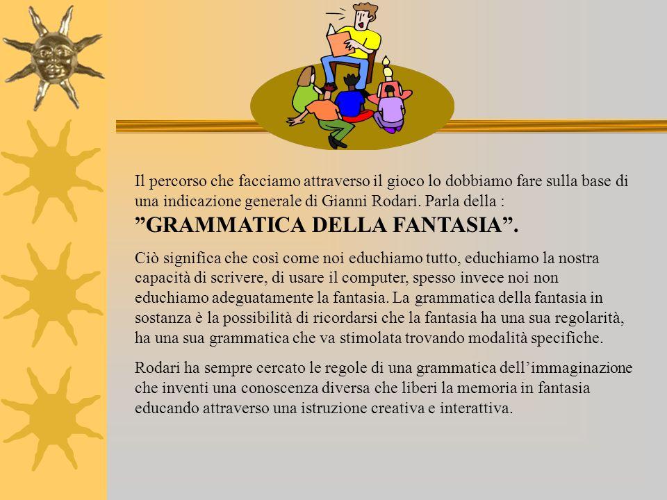 Il percorso che facciamo attraverso il gioco lo dobbiamo fare sulla base di una indicazione generale di Gianni Rodari.