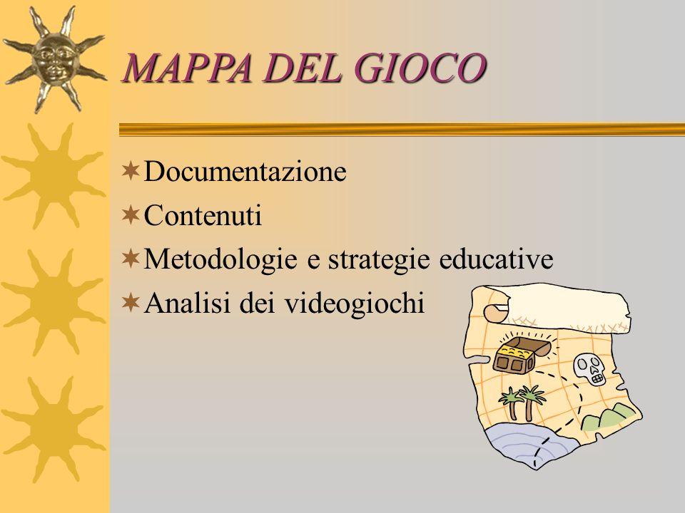 MAPPA DEL GIOCO  Documentazione  Contenuti  Metodologie e strategie educative  Analisi dei videogiochi