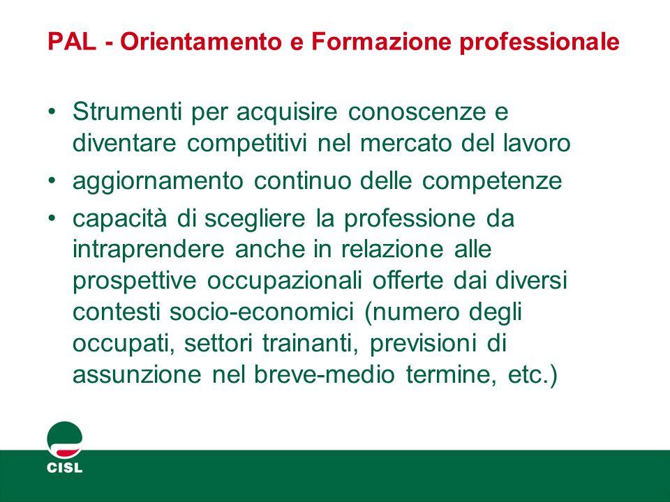 PAL - Orientamento e Formazione professionale Strumenti per acquisire conoscenze e diventare competitivi nel mercato del lavoro aggiornamento continuo