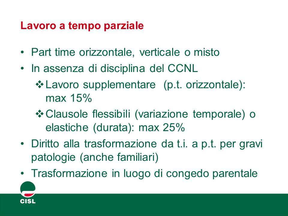 Lavoro a tempo parziale Part time orizzontale, verticale o misto In assenza di disciplina del CCNL  Lavoro supplementare (p.t. orizzontale): max 15%