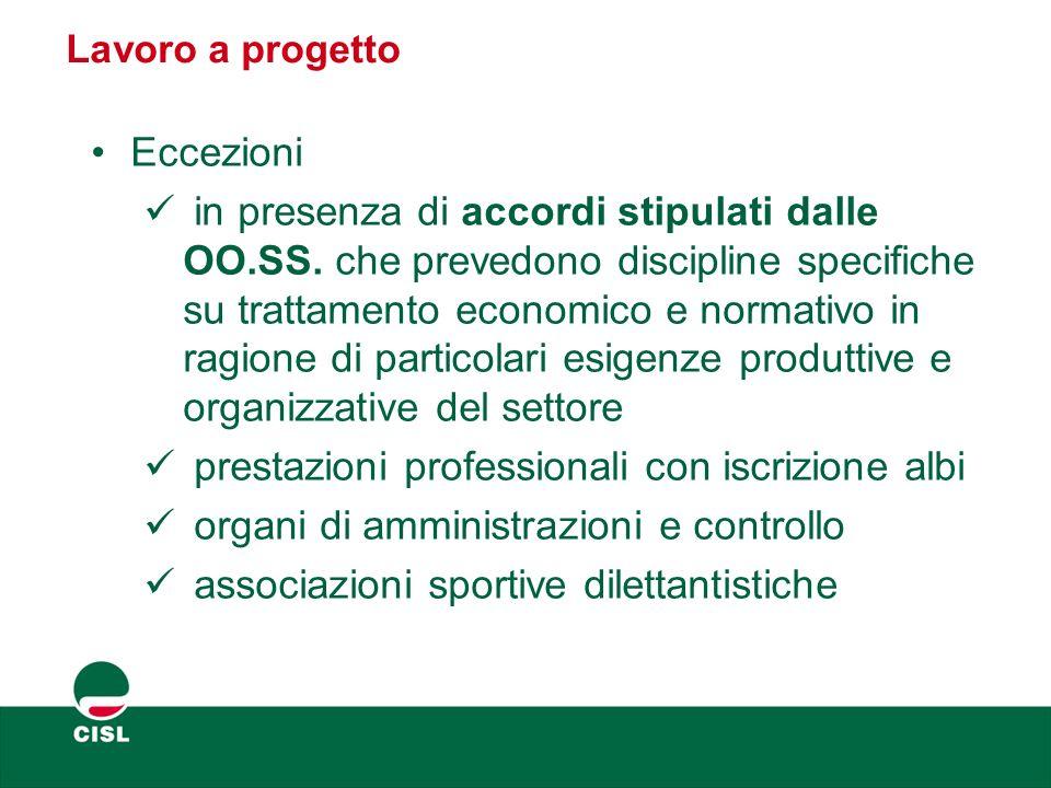 Lavoro a progetto Eccezioni in presenza di accordi stipulati dalle OO.SS. che prevedono discipline specifiche su trattamento economico e normativo in