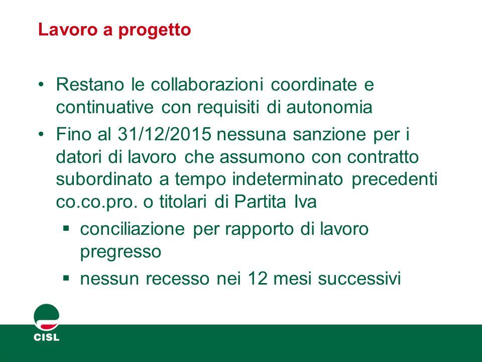 Lavoro a progetto Restano le collaborazioni coordinate e continuative con requisiti di autonomia Fino al 31/12/2015 nessuna sanzione per i datori di l