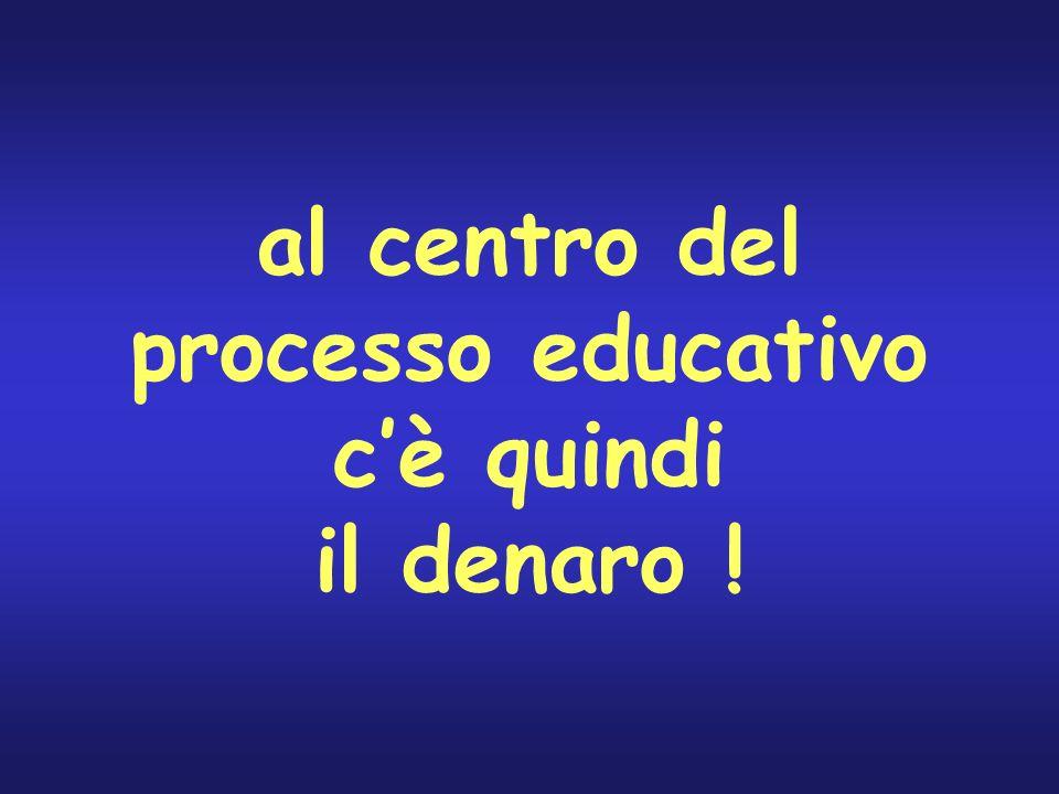 al centro del processo educativo c'è quindi il denaro !