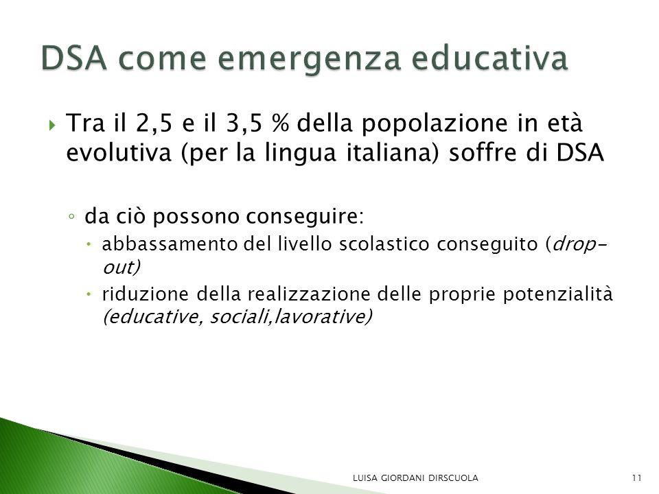  Tra il 2,5 e il 3,5 % della popolazione in età evolutiva (per la lingua italiana) soffre di DSA ◦ da ciò possono conseguire:  abbassamento del live