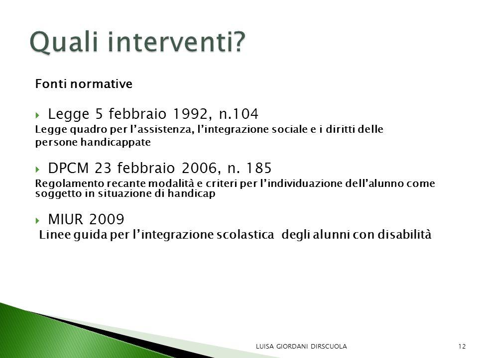 Fonti normative  Legge 5 febbraio 1992, n.104 Legge quadro per l'assistenza, l'integrazione sociale e i diritti delle persone handicappate  DPCM 23