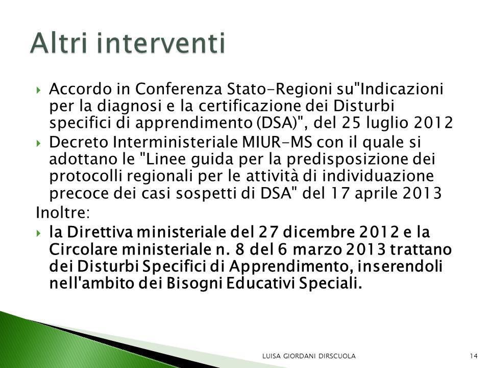  Accordo in Conferenza Stato-Regioni su