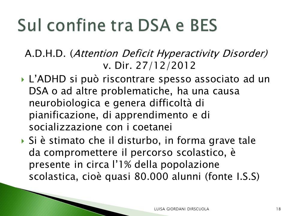 A.D.H.D. (Attention Deficit Hyperactivity Disorder) v. Dir. 27/12/2012  L'ADHD si può riscontrare spesso associato ad un DSA o ad altre problematiche