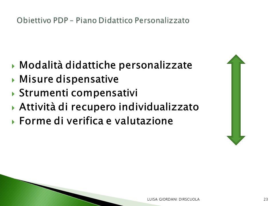  Modalità didattiche personalizzate  Misure dispensative  Strumenti compensativi  Attività di recupero individualizzato  Forme di verifica e valu
