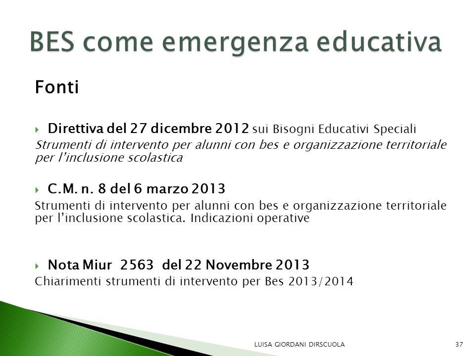 Fonti  Direttiva del 27 dicembre 2012 sui Bisogni Educativi Speciali Strumenti di intervento per alunni con bes e organizzazione territoriale per l'i