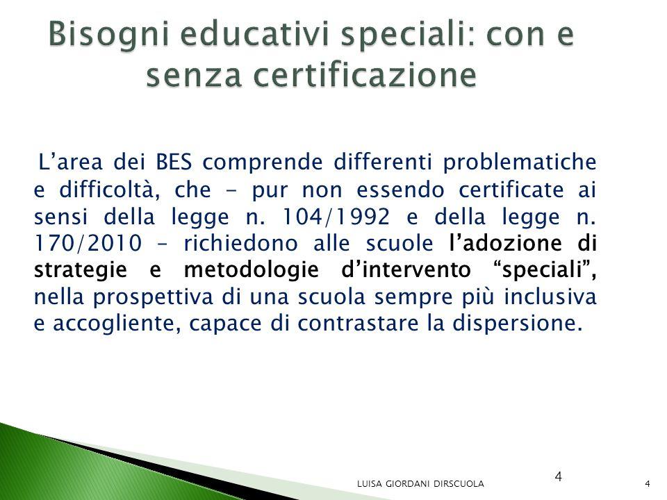 4 Bisogni educativi speciali: con e senza certificazione L'area dei BES comprende differenti problematiche e difficoltà, che - pur non essendo certifi