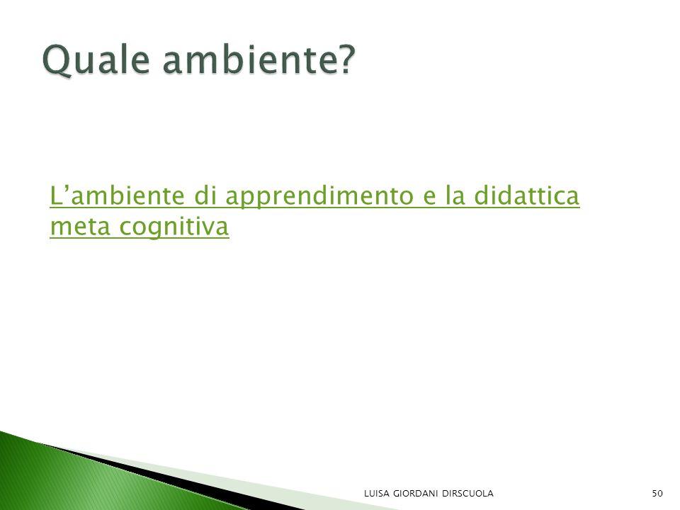 L'ambiente di apprendimento e la didattica meta cognitiva LUISA GIORDANI DIRSCUOLA50