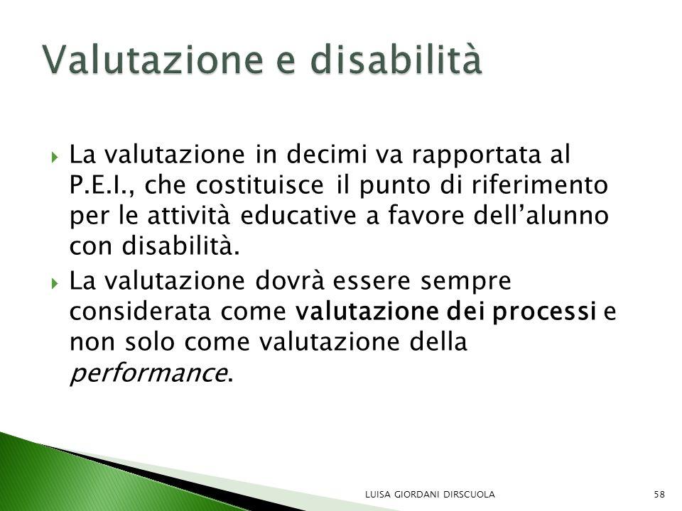  La valutazione in decimi va rapportata al P.E.I., che costituisce il punto di riferimento per le attività educative a favore dell'alunno con disabil