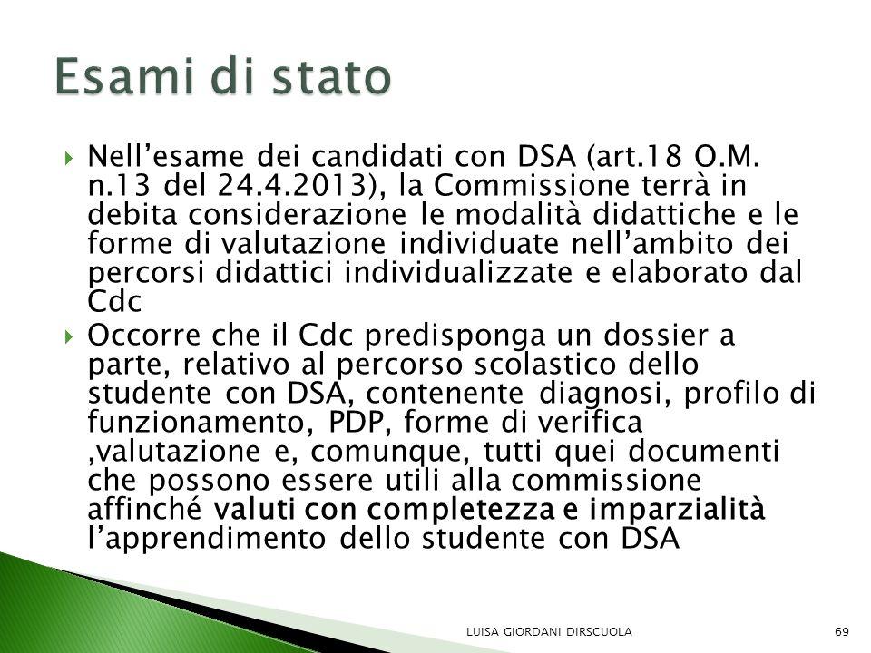  Nell'esame dei candidati con DSA (art.18 O.M. n.13 del 24.4.2013), la Commissione terrà in debita considerazione le modalità didattiche e le forme d