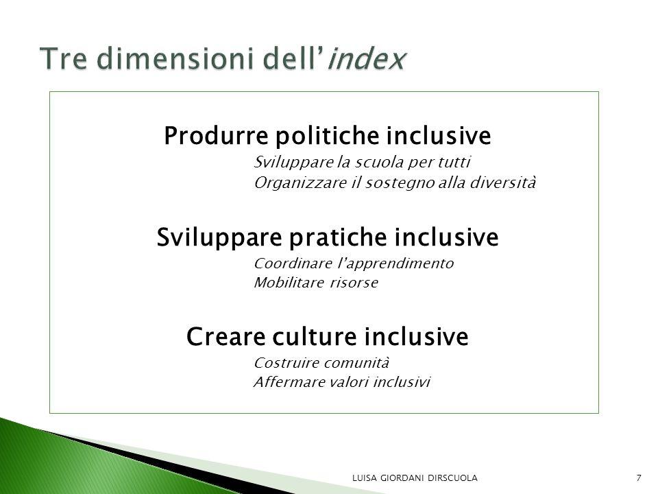 Produrre politiche inclusive Sviluppare la scuola per tutti Organizzare il sostegno alla diversità Sviluppare pratiche inclusive Coordinare l'apprendi