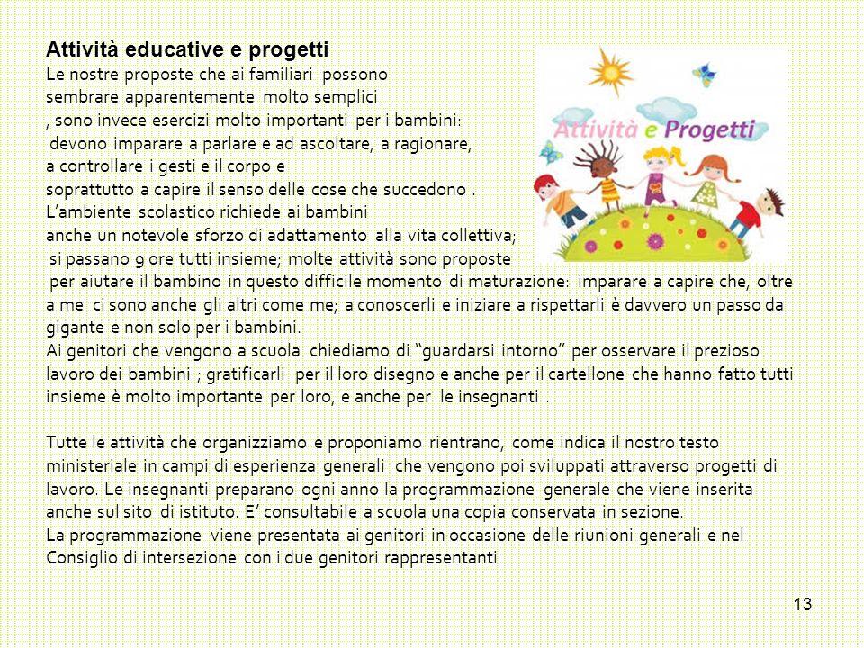 13 Attività educative e progetti Le nostre proposte che ai familiari possono sembrare apparentemente molto semplici, sono invece esercizi molto import