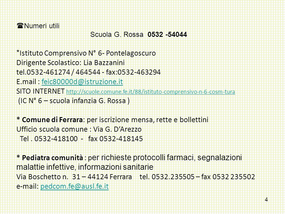 4  Numeri utili Scuola G. Rossa 0532 -54044 * Istituto Comprensivo N° 6- Pontelagoscuro Dirigente Scolastico: Lia Bazzanini tel.0532-461274 / 464544