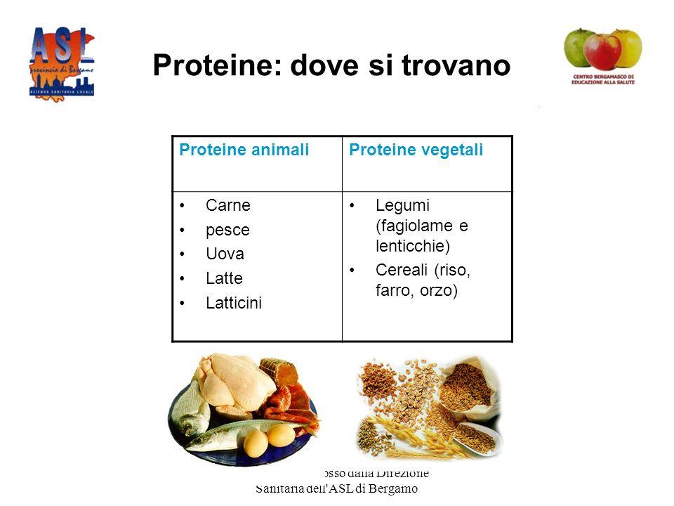 Progetto promosso dalla Direzione Sanitaria dell ASL di Bergamo Proteine: dove si trovano Proteine animaliProteine vegetali Carne pesce Uova Latte Latticini Legumi (fagiolame e lenticchie) Cereali (riso, farro, orzo)