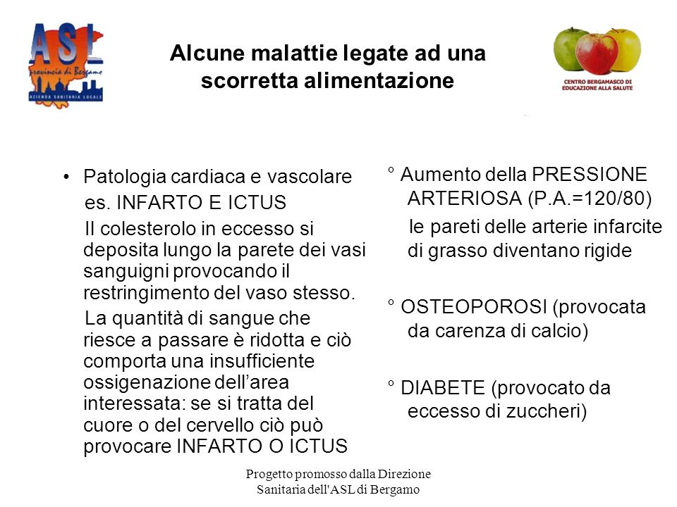 Progetto promosso dalla Direzione Sanitaria dell ASL di Bergamo Patologia cardiaca e vascolare es.